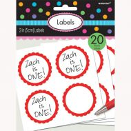 Labels Scalloped Red
